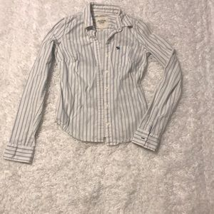 Sm blue and white striped Abercrombie button down